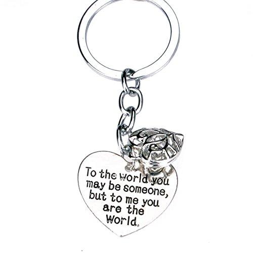 Filigree Heart Key (To The World You Maybe Someone But To Me You Are The World Filigree Heart Pendant Keychain Keyring)