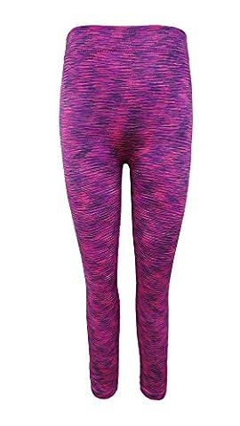Crush Kids Seamless Printed Fleece Lined Legging Fuchsia Size 7-16
