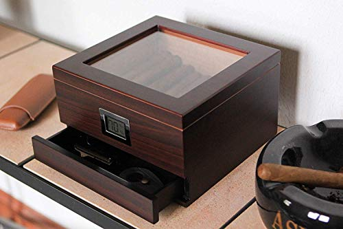 Umidificatore per sigari in legno di cedro lavorato a mano con coperchio in vetro e igrometro anteriore digitale e… 5 spesavip