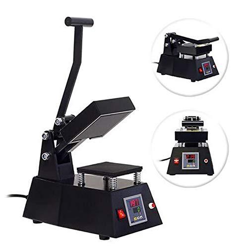 (Finlon HP230C 12×12cm T-Shirt Heat Press Logo Heat Press Machine Digital Transfer Sublimation Mini Heat Press Machine for Hat/Mug/Plate/T-Shirt Multifunction US Plug Black)