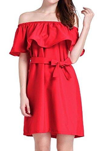 Di donne Colore Puro Rosso Vestito Coolred Di Della Balza Sottogonne Off Spalla aTw5qxY