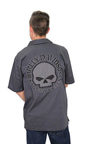 Harley-Davidson Mens Willie G Skull Garage Grey Shirt 99010-14VM (Flame Skull Button Down Shirt)