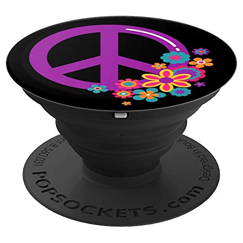 Cute Purple Hippie Peace Sign and Flowers on Black PACJ0170 - PopSockets Grip and Stand for Phones and Tablets - Peace Sign Trendy