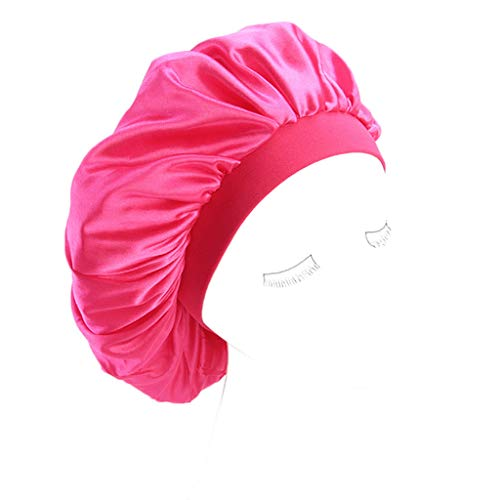 (Lukalook Womens Faux Silk Bonnet Cap Wide Elastic Band Solid Night Sleep Hat Wrap Pleated)