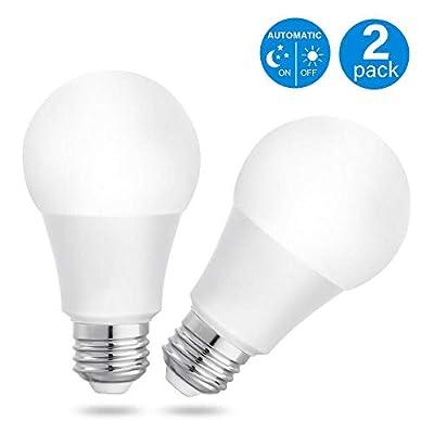 Lit-Path LED A19 Photocell Sensor Bulb, Dusk to Dawn Auto On/Off, 7W 600 Lumen, E26/E27 Base, Indoor/Outdoor Yard Porch Patio Garage Garden