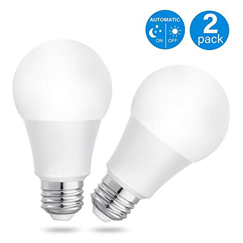 LIT-PaTH A19 Sensor Light Bulbs Dusk to Dawn LED Light Bulbs Smart Lighting Lamp with Photocell Auto On/Off, 7W 600 Lumen, E26/E27 Base, Indoor/Outdoor Yard Porch Patio Garage Garden Light, 120-277V