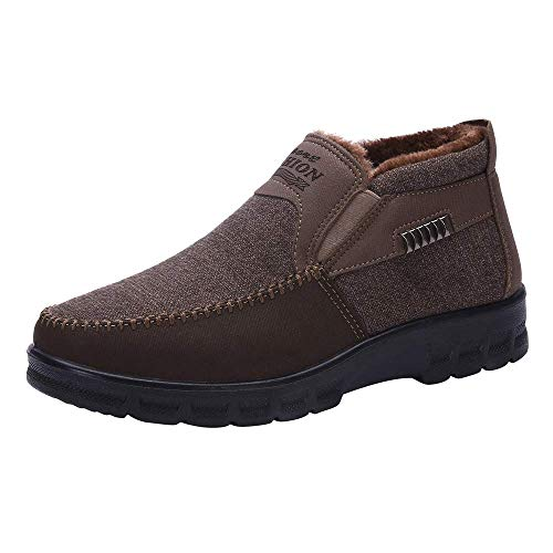 Dreamyth Unisex Winter Warm Hiking Boots Men's Cotton Shoes Thickening Plus Velvet Warm Casual Shoes (Coffee, US:11)