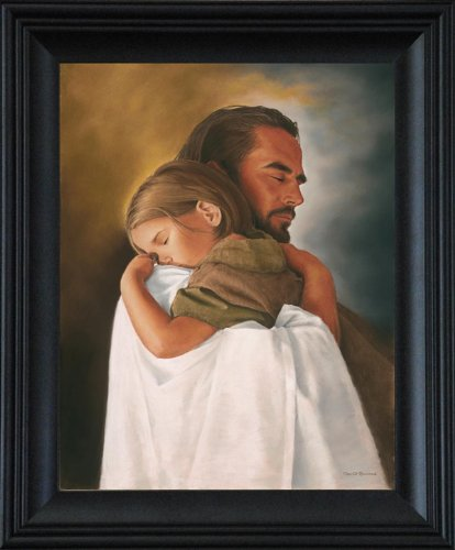 Security Framed Wall Art Print of Jesus Christ Print by David Bowman Christian (21''x25'' framed)