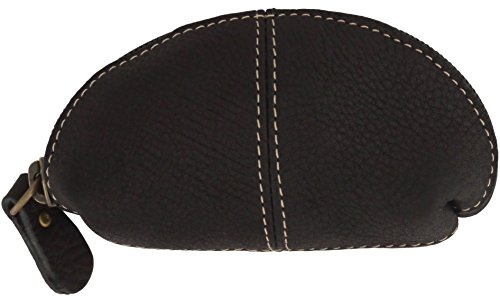Leather Coin Purse - Change Wallet Key Holder Case Small Zip Bag For Men And Women (Black)