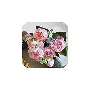 Fashion-LN 5 Big Heads/Bouquet Peonies Artificial Flowers Silk Peonies Bouquet 4 Bud Flowers Wedding Home Decoration,4 6