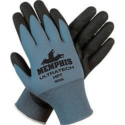 Memphis 9699L Large UltraTech HPT 15 Gauge Coated Work Gloves Gray