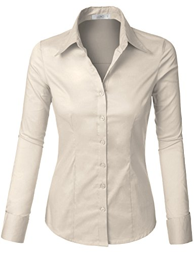 (LE3NO Womens Tailored Long Sleeve Button Down Shirt with Stretch Ivory)