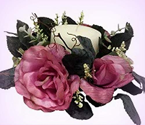 - Inna-Wholesale Art Crafts New Roses Candle Ring Pink Mauve Silk Artificial Centerpieces Decorating Flowers - Perfect for Any Wedding, Special Occasion or Home Office D?cor