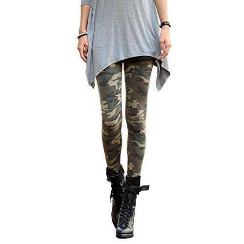Asoidchi Lady Camouflage Trouser Army Pants Stretch Leggings (army green)