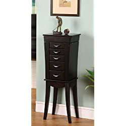 Nathan Direct Eiffel Tower 5 Drawer Jewelry Armoire with 2 Side Compartments and a Lift-Top Compartment with Mirror and Ring Holders, Black