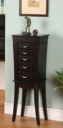 Nathan Direct Eiffel Tower 5 Drawer Jewelry Armoire with 2 Side Compartments and a Lift-Top Compartment with Mirror and Ring Holders, Black by Nathan Direct (Image #2)