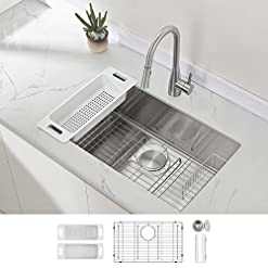 Kitchen ZUHNE Modena Undermount Kitchen Sink Set, 16-Gauge Stainless Steel (30-Inch Single Bowl) modern kitchen sinks