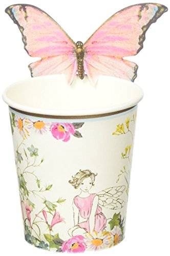 Talking Tables Truly Fairy Floral Paper Cups for a Birthday Party or General Celebration, Pink & White (12 Pack)