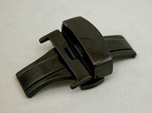 Polished Deployment Buckle - FidgetKute Black 22MM Deployment Buckle Double Clasp Polished Stainless Steel