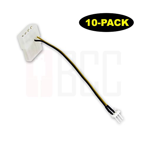(10-Pack) BuyCheapCables® 3 Pin ATX Fan to 4 Pin Molex Power Adapter Cable (5')