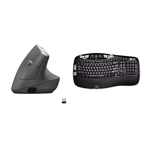 Logitech MX Vertical Wireless Mouse, Graphite & K350 Wireless Wave Keyboard with Unifying Wireless Technology - Black