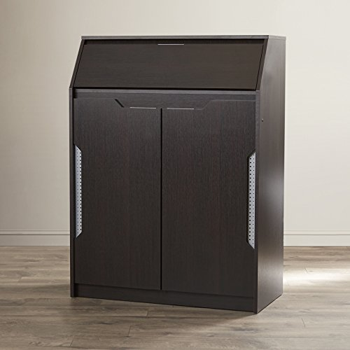 """Contemporary Style 12 Pair Shoe Storage Cabinet Made w/ Manufactured Wood and solid Wood Veneers in Espresso Finish 42.3"""" H x 31.4"""" W x 15.7"""" D in."""