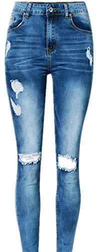 Irregolari Giovane Donna Tights Colour Pantaloni Denim Elastico Slim Casual Cher Blue Fori Jeans Stretch Waist Hole AwpYqpz