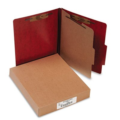 Presstex 20-Point Classification Folders, Letter, Four-Section, Red, 10/Box, Sold as 10 Each (Recycled Presstex Classification Folder)