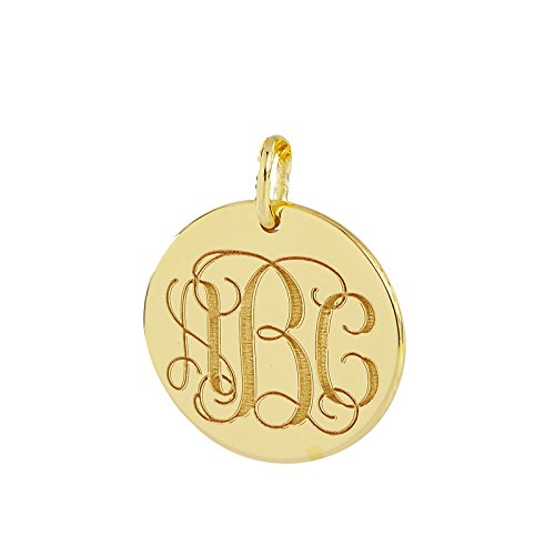 3 Initials Monogram Charm Pendant Solid 10K Gold 1/2 Inch Dainty Small Round Disc Deep Laser Engraving GC06 (Small Circle Charm)