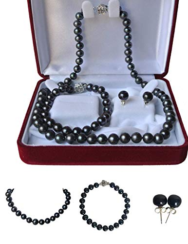 - Pearl Romance Round Black Strand Pearl Necklace Bracelet Stud Earrings 3pc Set Genuine Cultured Freshwater 6mm 7mm 8mm 9mm 10mm 11mm 16 18 20 24 30 36 inch Long (16, 7.0-7.5mm)