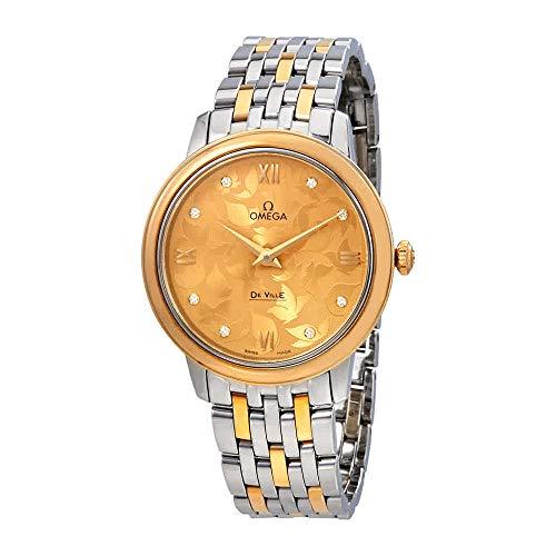 OMEGA Women's De Ville Two Tone Steel Bracelet Steel Case Quartz Champagne Dial Watch 424.20.33.60.58.001