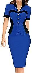 LUNAJANY Women's Sleeves Button-front Wear to Work Peplum Dress Xsmall blue