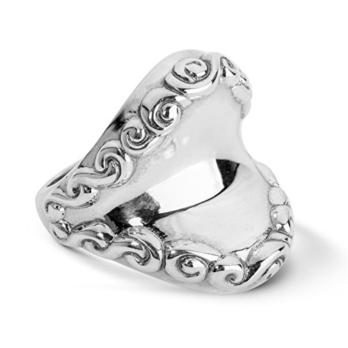 Silver Ring Scroll Borders - Carolyn Pollack - Sterling Silver Smooth Center Filigree Border Ring - 10 - Lasting Connections Collection