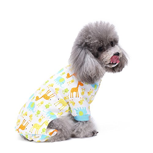 S-Lifeeling Dog Costumes for Indoor Outdoor Giraffe Pattern Comfortable Puppy Pajamas Soft Dog Jumpsuit Shirt Best Gift 100% Cotton Coat for Medium and Small -