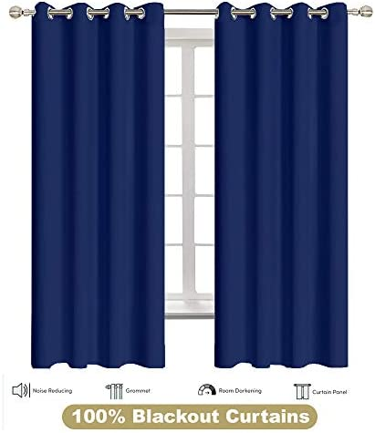 Room Darkening Draperies 2 Panels Curtains Heat Wave Barrier Grommet Window Triple Layer Curtains Drapes for Bedroom and Living Room Dark Blue, W60 by L72 Inch