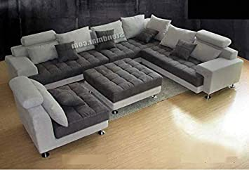 Stendmar 5PC New Modern Grey Microfiber Big SECTIONAL Sofa Set S150LG