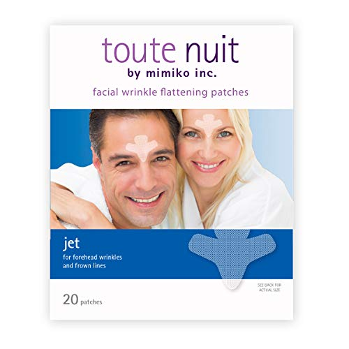 Toute Nuit Facial Wrinkle Flattening Patches, Jet - Extra Large UNISEX Frown Lines Plus and Forehead Anti-Wrinkle Patches, Face Tape - 20 Patches