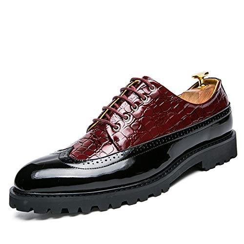 agua la cómodos los tamaño Piel negocios Hombre de de cocodrilo de Ocasionales personalidad cuero hombres a zapatos 2018 Zapatos Oxford 43 prueba Rojo de de Brogue Negro Color EU charol de vwgqW8T1