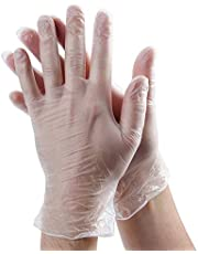 Rubber Gloves Disposable Latex Free: Clear Vinyl Gloves for Cleaning, Cooking, Hair Coloring, Dishwashing, Food Handling and Food Service, Allergy Free Plastic Gloves Large (Box of 100)