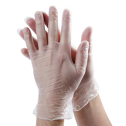 (Rubber Gloves Disposable Latex Free: Clear Vinyl Gloves for Cleaning, Cooking, Hair Coloring, Dishwashing, Food Handling and Food Service, Allergy Free Plastic Gloves Medium (Box of 100))