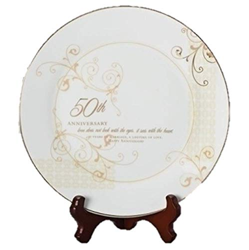 50th Wedding Anniversary Love Sees with the Heart Porcelain Plate with Stand by Roman