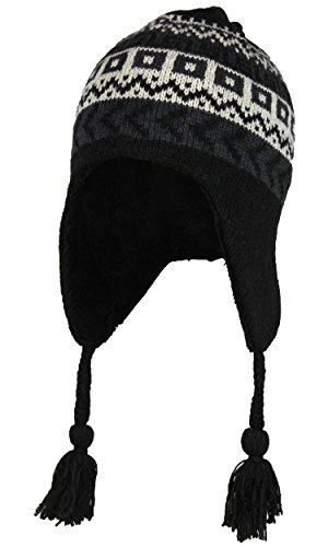 Folie Co. Black Wool Knit Peruvian Beanie Hat w/Sherpa Fleece Lining – Fair Isle Ski Cap