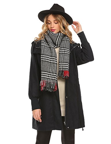 Corgy Women's Hooded Long Sleeve Woolen Coat With Drawstring Waist Slim Overcoat Outwear