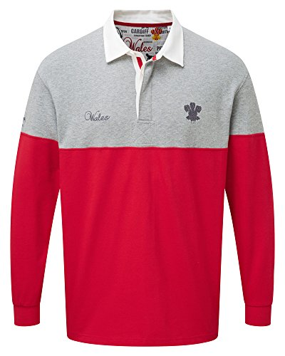 Cheap Cotton Traders Men Long Sleeve Classic Rugby Shirt - Wales