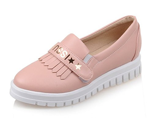 Pink Platform Cute Sneakers Toe Loafers Letter Aisun Fringed Heels Skateboard Antiskid Shoes Low On Round Womens Comfy Slip Print 4q5P6Uw