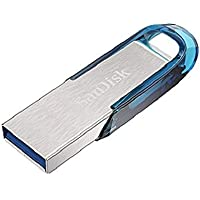 Memoria Flash USB SanDisk Ultra Flair de 128 GB con USB 3.0 y hasta 150 MB/s, Color Azul Tropical