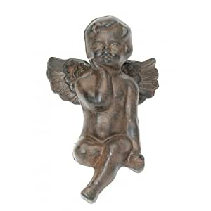 Sitting on Ledge Cast Iron Fairy Angel Garden Statue Pixie Home Decor Cherub