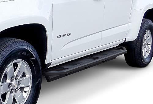 (iArmor Aluminum Side Steps Armor Custom Fit 2015-2019 Chevy Colorado/GMC Canyon Crew Cab Pickup 4-Door (Nerf Bars | Side Steps | Side Bars))