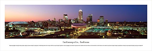 (Blakeway Worldwide Panoramas Indianapolis, Indiana at Sunset - Blakeway Panoramas Unframed Skyline Posters,)