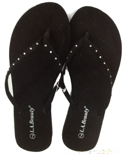 Women's L.A. Beauty Rhinestone Sandals-Flats - Flip Flops - Shoes -